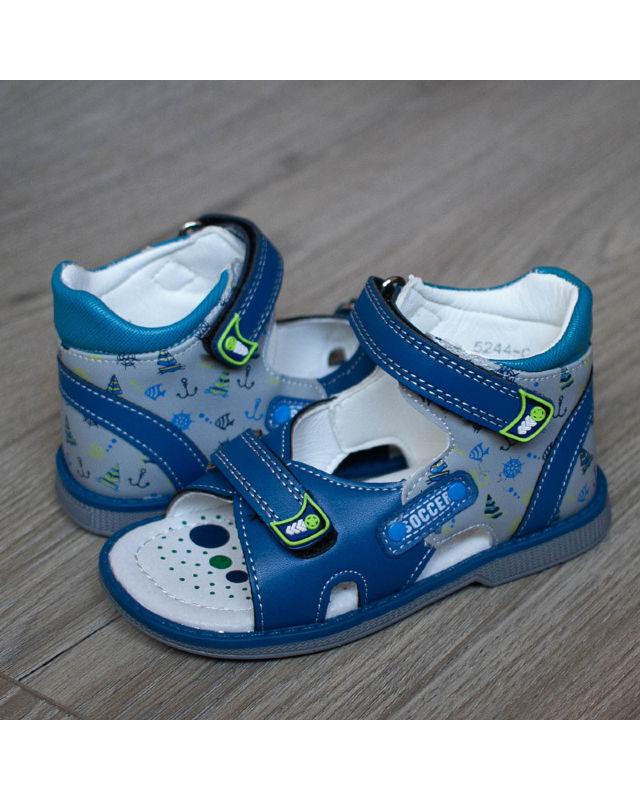 4fb6bcfa7 Босоножки детские 5244 С для мальчика - цвет светло-синий - каблук ...