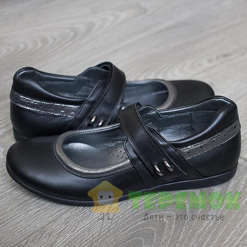 f7569f3a4 Кожаная школьная обувь для девочек Happy walk 2382 черного цвета ...
